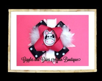 Cow Hair Bow - Just perfect for those Little Cowgirl Outfits - Pink and Black Polka Dot Over the Top Cow Hair Bow