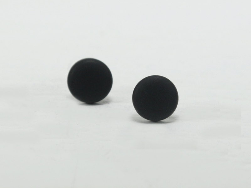 Black Stud Earrings Black Studs Matte Black Earrings
