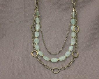 Necklace-Gemstone Necklace-Adventurine Necklace-Chain Necklace-Green Stone Necklace-Gold Chain Necklace-Multi strand Necklace-Beaded Stone
