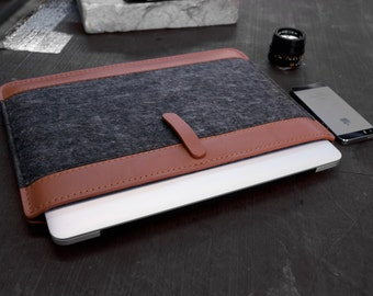 CUSTOM MADE, Ultra-Light Macbook Pro Retina 15, Tan and Gray leather case.