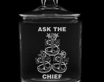 Ask The Chief 1 Gallon Cookie Jar (all) US Navy USN cpo mcpo scpo chief naval