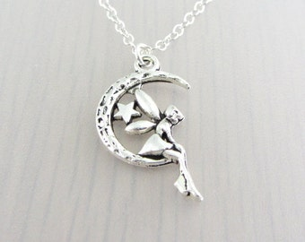 Silver Plated Fairy On The Moon Charm On A Sterling Silver Necklace, Silver Crescent Moon Pendant, Fairy Charm Pendant, Star Moon Necklace