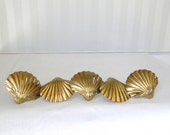 Vintage Napkin Rings Set Of SIx Golden Brass Ridged Shell Napkin Rings Hollywood Regency Hostess Accessory Entertaining Serving Table Ware