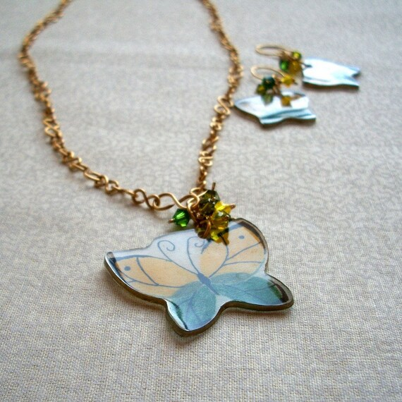 Simple yellow green jewelry set, Butterfly Whimsy, Ready to Ship