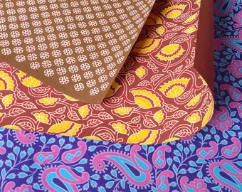 SALE - Indian Print Wrapping Papers and Craft supply in Maroon Violet and Brown Set of 3 papers
