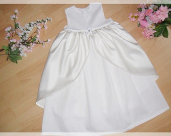 Cotton christening gown with satin (2 colors), dress 100% cotton, polyester overskirt ,varioussizes,