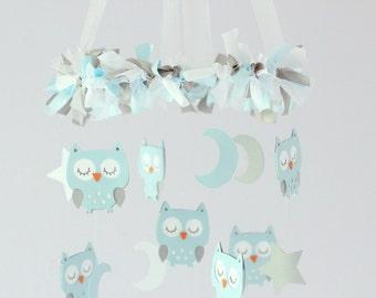Baby Blue Owl Nursery Mobile- Baby Mobile, Crib Mobile, Baby Shower Gift