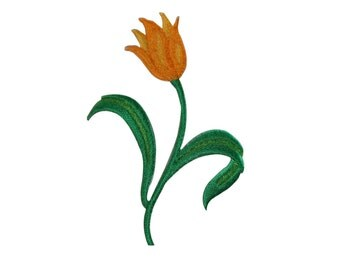 ID #6150 Yellow Tulip Flower Plant Garden Iron On Embroidered Patch Applique