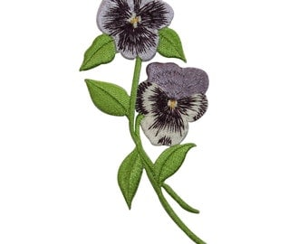 ID #6887 Purple & White Violets Flowers Plant Iron On Embroidered Patch Applique