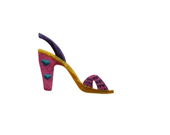 ID #7345 Multicolor High Heel Shoe Fashion Iron On Embroidered Patch Applique