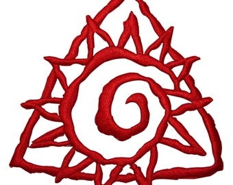 ID #8768 Red Triangle Spiral Sunny Sun Badge Embroidered Iron On Applique Patch