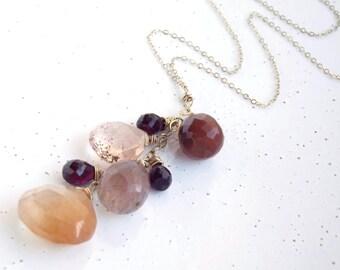 Copper Rutilated Quartz, Garnet & 14k Gold-filled Cluster Necklace