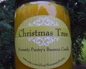 Beeswax Candle in glass jar - Christmas Tree, 8oz Organic Beeswax from Local Supplier