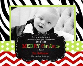 Chevron   Zebra Christmas  Cards