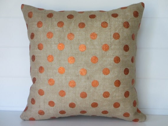 Items similar to Fall Pillow Cover, Holiday Pillows, Thanksgiving Burlap, Metallic Orange Dot ...
