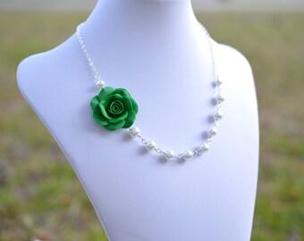 Emerald Green Rose asymmetrical Necklace, Green flower necklace, Green Bridesmaid Necklace, Green Flower Asymmetrical Necklace