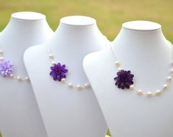 FREE EARRINGS Deep Purple Dahlia Necklace, Lilac  Flower necklace, Purple Necklace, Purple Bridesmaid Necklace