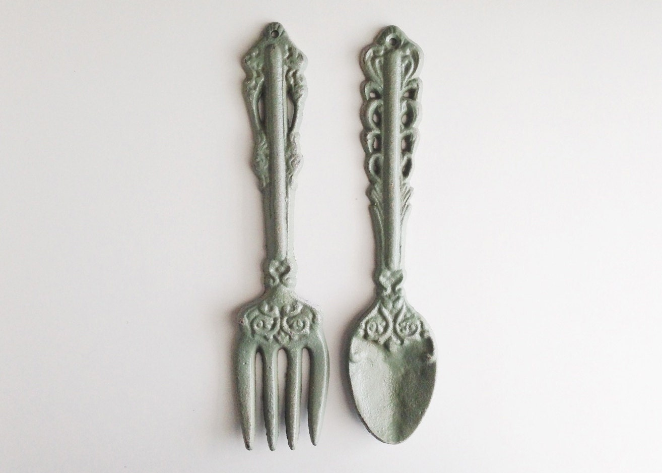 large fork and spoon green fork wall decor sage by. Black Bedroom Furniture Sets. Home Design Ideas