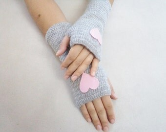 Mittens, Crochet Gloves, Wool Grey Gloves, Handmade Fingerless,  Accessories, Heart Gloves, Arm Warmers, Romantic Gifts, Gifts For Her