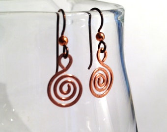 Hammered Copper Spiral Earrings - Hammered Textured - Solid Copper - Niobium Hooks