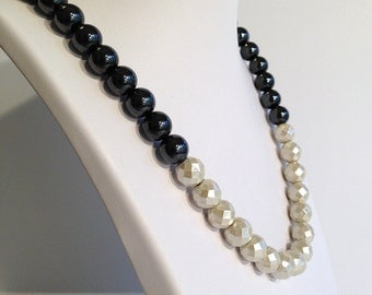 Magnetic hematite necklace - pearl dipped geometric beads - monochrome style - custom sized