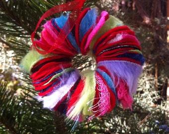 Fabric scrap wreath ornament
