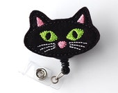Black Kitty - Halloween Badge Holder - Cute Badge Reel - Holiday Retractable Badge Clip - Felt Badge Reel - Nurse Badge Pull - BadgeBlooms