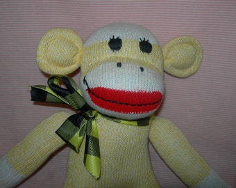 Traditional Classic Red Heel Sock Monkey Doll In Yellow