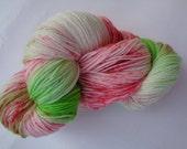 Hand Dyed Yarn, Poinsettia - SW Merino/Nylon Fingering Wt.