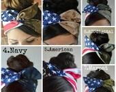 American headband, Wire Dolly bow, Military American Flag head band, hair bow