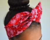 Red Paisley dolly bow headband , Chic Head wrap Ba