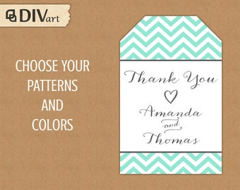 PRINTABLE Wedding Favor Tags, Shower, Birthday Favor Tag, Hang Tag, Thank You Tag - chevron - aqua and gray or any colors - 480