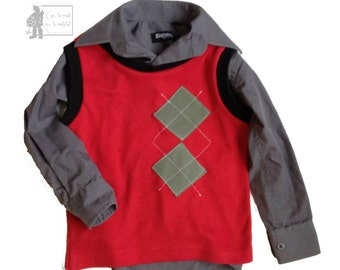 LITTLE MAN  eco-fashion vest upcycled children clothing