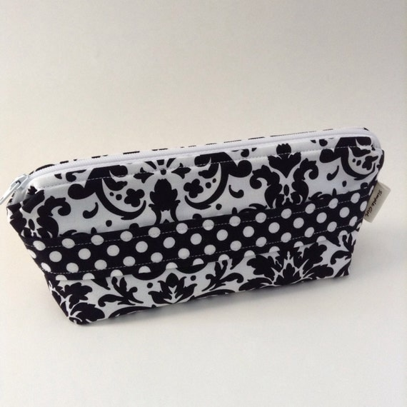 Cosmetic Bag in Black and White Damask Fabric with Polka Dot Trim
