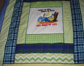 Perfect flannel quilt for a fisherman in tones of blue and green