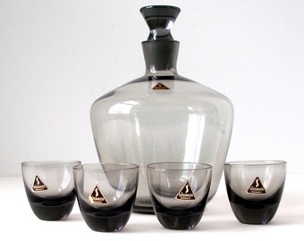 1950s Cordial Set RICHARD SUSSMUTH Decanter and 4 Glasses Smoke La Rein Mid Century Modern Original Labels W. Germany Excellent Condition