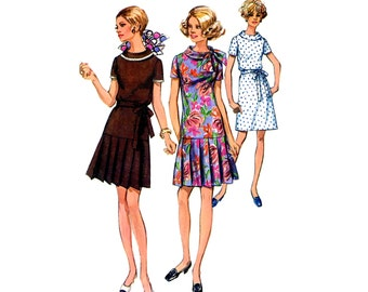 Simplicity 8602 Late 60's Dress Round Neckline A line Lowered Waist Pleated Skirt Bust 37 Vintage Sewing Pattern