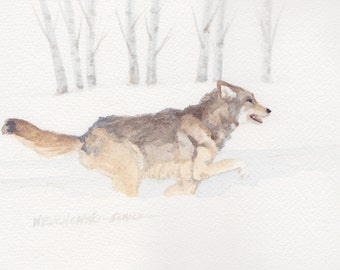 Wolf 7 Running Across the Lamar in Yellowstone National Park Original Painting