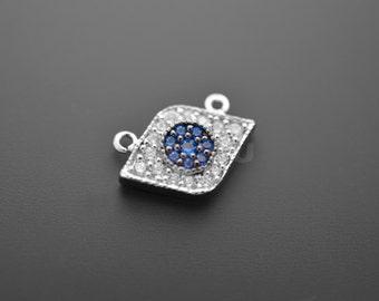 1pcs -Rhodium Plated Tiny Evil Eye Charms (B0158R) - Silver Charm, Evil Eye pendant, Tiny metal pendant, Cubic pendant, Wholesale supply
