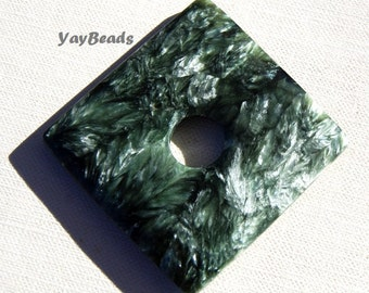 Huge Seraphinite Donut Focal 50mm Green Silver Round, Square or Octagon