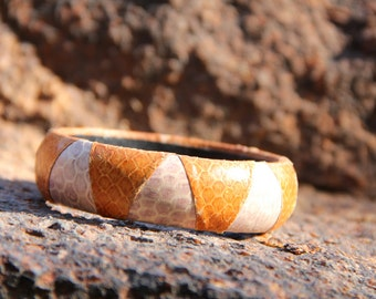 vintage snakeskin bangle bracelet in two tones