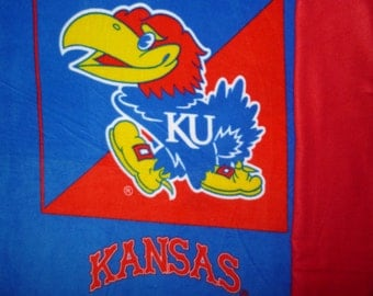 "University of Kansas KU Jayhawks Panel No Sew Fleece Blanket with your choice of Back (50"" x 58"") Double Sided College Football Blanket"