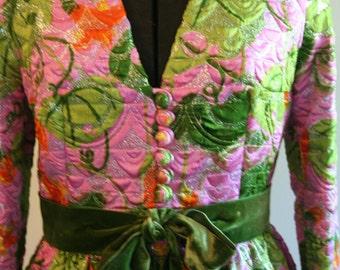 50's Party Dress // Vintage 50's Pink Floral Brocade Silk Rembrandt Dress