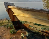 Glow, wooden boat, stern, propeller, seashore, cream, blue, Aegean, weathered, beach, ocean, nautical, coastal, cottage, Lesvos Greece