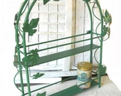 Vintage French Country Iron Wire Herb Spice Rack Cottage Ivy Leaf Ornamental Green 2 Tier Metal Shelves Cubby Hole Organizer Wall Shelf