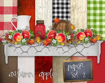 Autumn Apples Paper Set 2 - Digital Scrapbooking