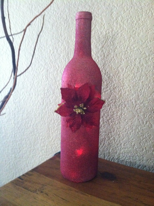 Wine bottle light red glitter paint red lights poinsettia