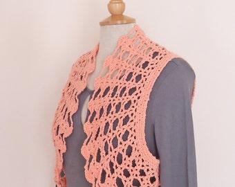 Crochet Bolero / Cotton Bolero Jacket / Crochet Lace Shrug / Crochet Jacket / Peach Cotton Lace Bolero Shrug,Pink Bolero UK Seller
