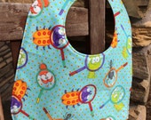 TODDLER or NEWBORN Bib: Bugs Under a Magnifying Glass, Personalization Available