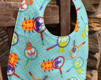 NEWBORN Bib: Bugs Under a Magnifying Glass, Personalization Available